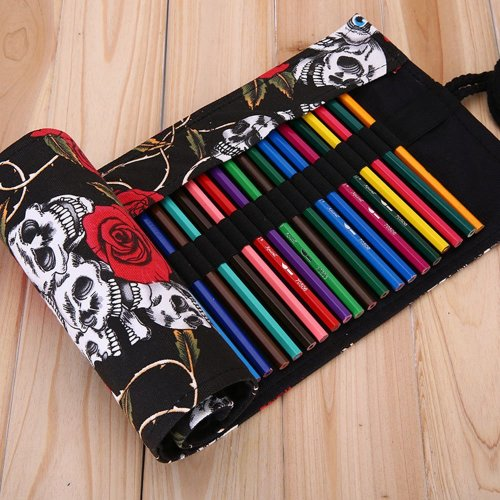 XYTMY Creative Handmade Canvas Pencils Case Pencil Roll Pouch Pencils Wrap Holder, for Pencils, Pens, Eraser, Sharpener, Markers, Crochet Hook or...
