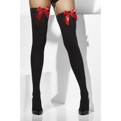 Black & Red Opaque Hold Ups -  black stockings fancy dress ladies red bows hold ups sexy womens opaque