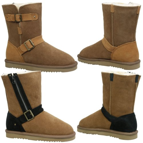 Alicia Womens Flat Fur Lined Snugg Ankle Boots