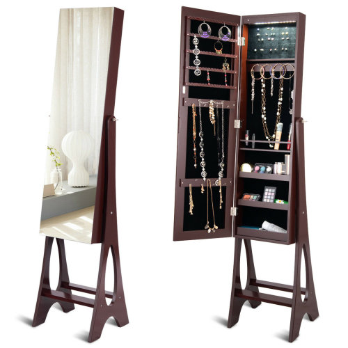 Full-Size LED Mirror Jewelry Cabinet Armoire Storage Organizer