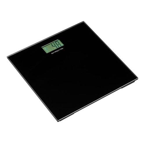 Square Tempered Glass Bathroom Scale - Black