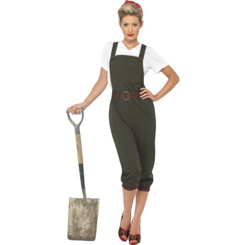 Smiffy's Green Adult Size 16-18 Women's WW2 Land Girl Costume - Fancy Dress -  costume ww2 land girl fancy dress 1940s world war ladies army outfit
