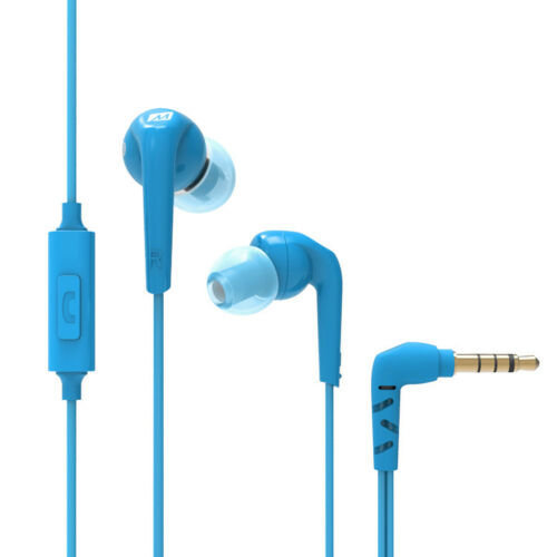 RX18P Comfort-Fit In-Ear Headphones¦Enhanced Bass¦Inline Microphone¦Blue¦NEW