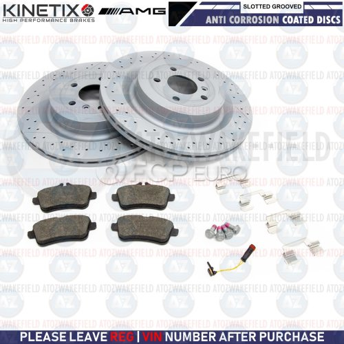 FOR MERCEDES ML63 AMG 11-15 REAR SLOTTED & GROOVED BRAKE DISCS PADS WIRE 345mm
