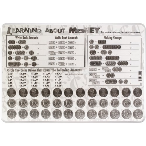 """Painless Learning Laminated Placemats 17.5""""X12.25""""-Learning About Money"""