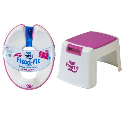 Pourty Bundle - Pourty Flexi Fit Toilet Trainer (white/pink And Pourty Step Up - Pink - 2 Items Supplied