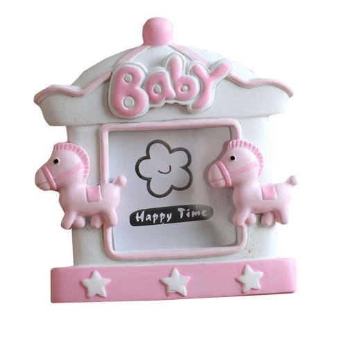 [Wooden Horse] Lovely Pink Baby Photo Frame for 2 inch Photo