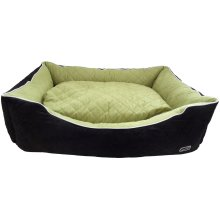 Hem & Boo Quilted Rectangle Bed Black/apple 40x28x14''