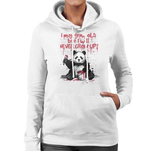Never Grow Up Panda Women's Hooded Sweatshirt