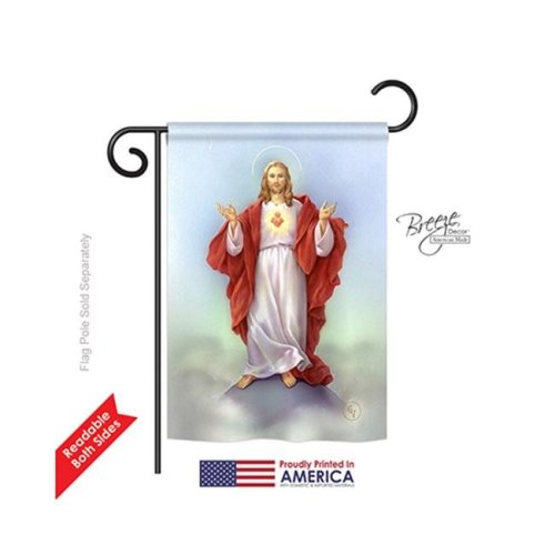 Breeze Decor 53046 Sacred Heart 2-Sided Impression Garden Flag - 13 x 18.5 in.