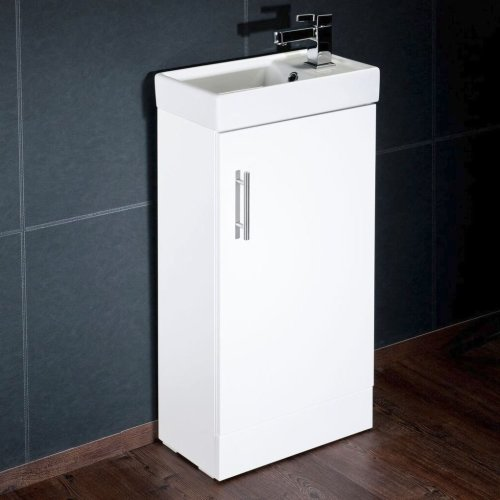 White Freestanding Bathroom Vanity Unit & Basin 40cm