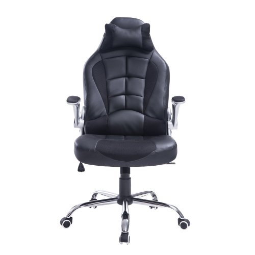 Homcom High Back Racing Office Chair Pu Leather Swivel Reclining Seat W Pillow On