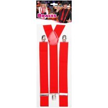 Red Braces - Accessory Suspenders Fancy Dress 20er60er Years Yshape 3 Clips -  braces red accessory suspenders fancy dress 20er60er years yshape 3