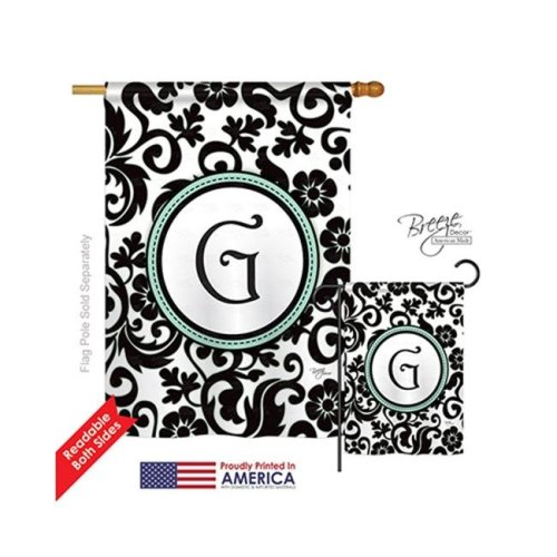 Breeze Decor 30059 Damask G Monogram 2-Sided Vertical Impression House Flag - 28 x 40 in.
