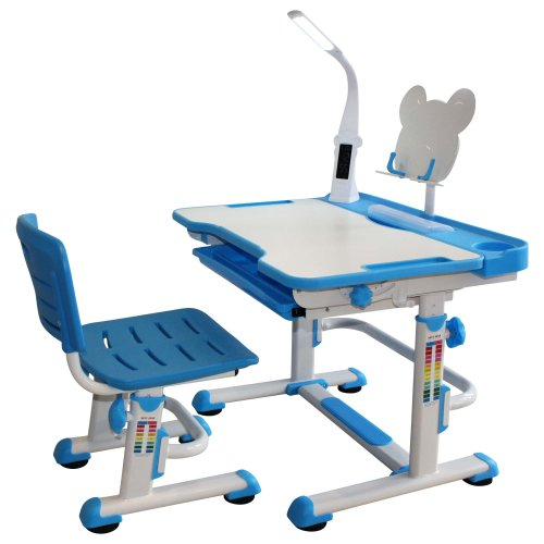 Height Adjustable Kids Desk with LED Lamp and Bookstand - Sprite