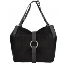 Michael Kors Quincy Large Suede and Leather Shoulder Tote - Black - 30F6AQYE3S-001