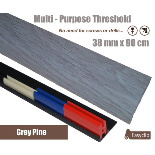 Grey Pine Multi Purpose Threshold Strip 38x90cm Adhesive Clip System