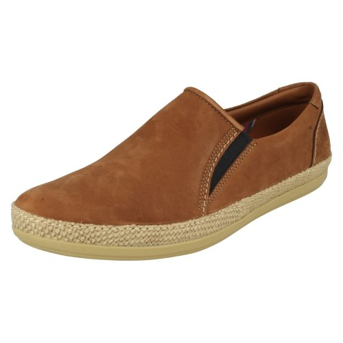 Mens Clarks Casual Slip On Shoes Mask Step - Tobacco (Brown) Nubuck - UK Size 7G - EU Size 41 - US Size 8M