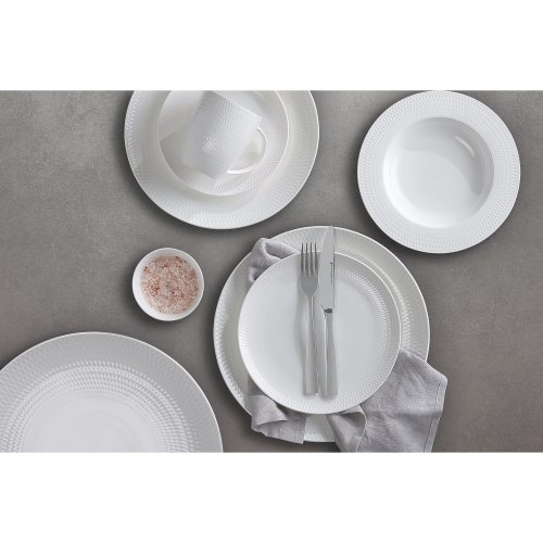 83c37e694d2 Maxwell & Williams Basics Diamonds Tea Cup and Saucer, White, 220 ml, Set  of 4