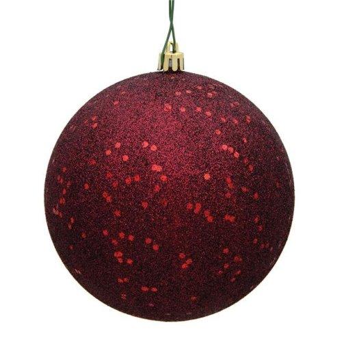 Vickerman N591065DQ 4 in. Burgundy Sequin Christmas Ornament Ball - 6 per Bag