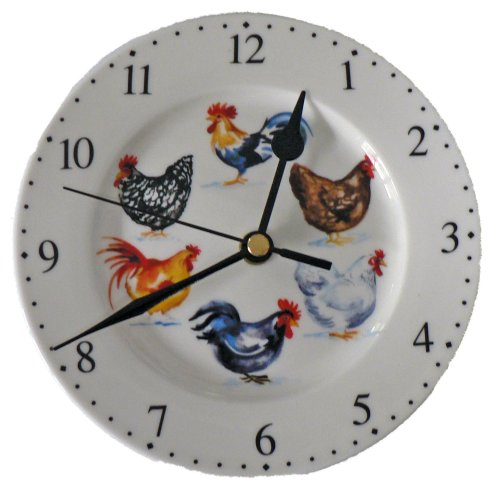 Chicken Small Ceramic Wall Clock in Gift Box