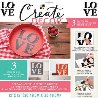 """Dcwv Create Decor Self-Adhesive Lettering & Stencil 12""""X12""""-Block Love-Black"""