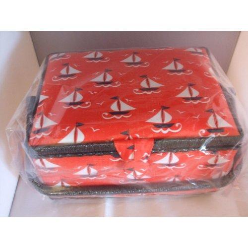 HobbyGift Medium Sewing Box / Basket With Pincushion & Removable Tray - Sailing Ships