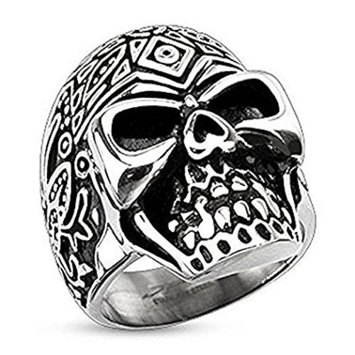 Wide Cast Day Of The Dead Deatiled Sugar Skull 30mm Width Surgical Steel Wing
