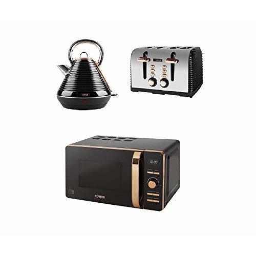 Rose Gold Digital Solo Microwave, a 1.8L S/S Pyramid Kettle a 4 Slice Toaster