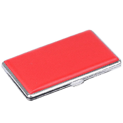Red Thin Cigarette Case PU Leather Storage Box, Holds 14 Regular Cigs