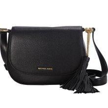 Michael Kors Elyse Large Black Leather Saddle Bag