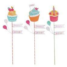 Set of Three 'Happy Birthday' Pop Art Cupcake Stick Decorations