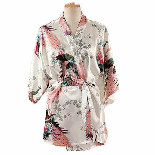White - Women s Silk-like Pajamas Short Bathrobe Kimono Robe Peacock  Blossoms on OnBuy 177f121e0