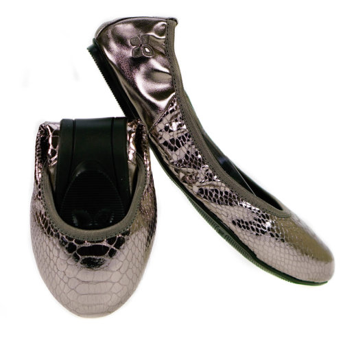 Butterfly Twists Foldable Ladies Flat Shoes Silver