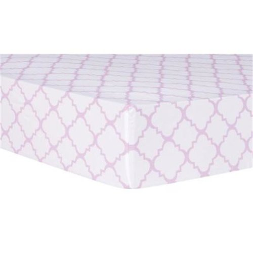 Trend Lab 101722 Orchid Bloom Quatrefoil Fitted Crib Sheet