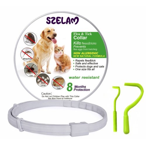 Flea and Tick Collar for Dog Cat, 8 Months Protection in Safety Ingredients Control, Premium Care with Two Tick Remover Tool to Remove Fleas,...