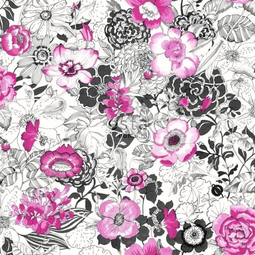 HD non-woven wallpaper flowers pink and black