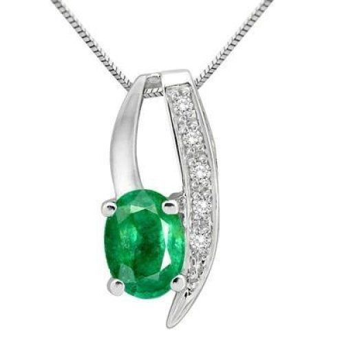 Oval And Round Cut Emerald And 3.75 Carats Diamonds Pendant Necklace White Gold 14K