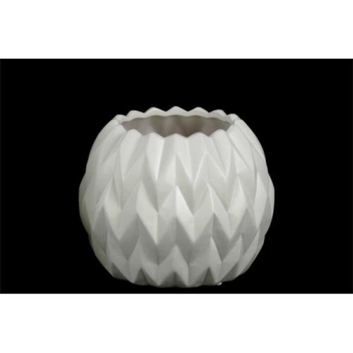 Urban Trends Collection 21419 4 Piece Small Matte White Ceramic Round Low Vase with Uneven Lip & Embossed Wave Design, 5.00 x 5.00 x 23.50 in.