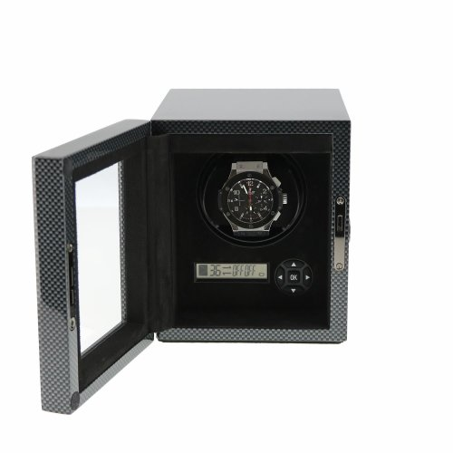 Watch Winder in Carbon Fibre finish with LED Light by Aevitas