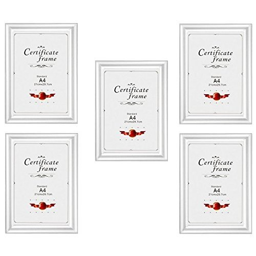 A4 Certificate Photo Picture Frame, Silver x 5 Frames