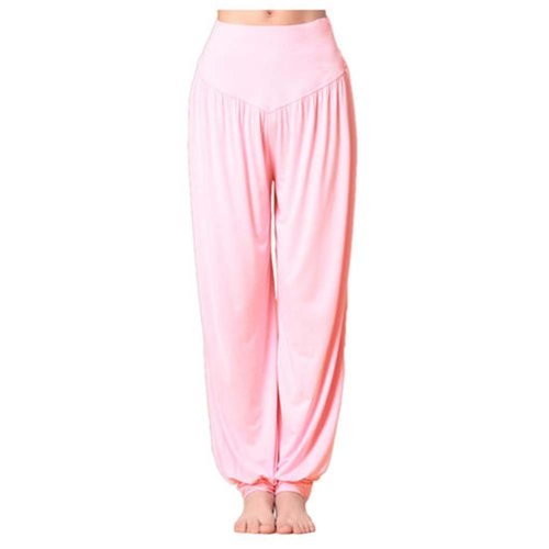 Solid Modal Cotton Soft Yoga Sports Dance Fitness Trousers Harem Pants, F
