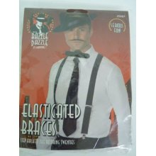 20's Black Gangster Braces -  black braces fancy dress gangster mens costume elasticated 1920s accessory