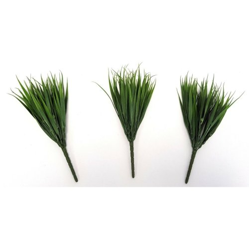 Set of 3 Artificial Green Vanilla Grass Bushes - 30cm - Plant Sprays & Grasses