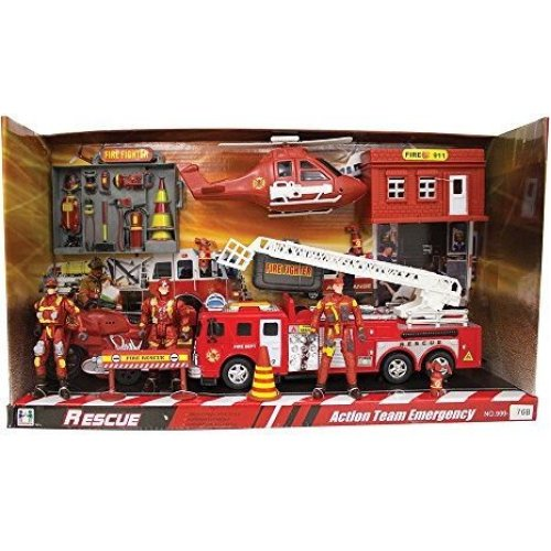 Have one to sell? Sell it yourself Details about  Action Team Emergency Rescue Play Set With 3 Emergency Crew - Fire Engine