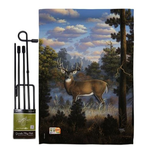 Breeze Decor BD-WL-GS-110061-IP-BO-D-US12-AL 13 x 18.5 in. Morning Light Nature Wildlife Vertical Double Sided Mini Garden Flag Set with Banner Pole
