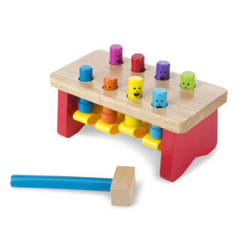 Melissa & Doug Deluxe Pounding Bench Toddler Toy | Wooden Hammer Toy