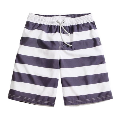 Men's Sports Casual Beach Loose Fashion Shorts, Blue And White Stripe