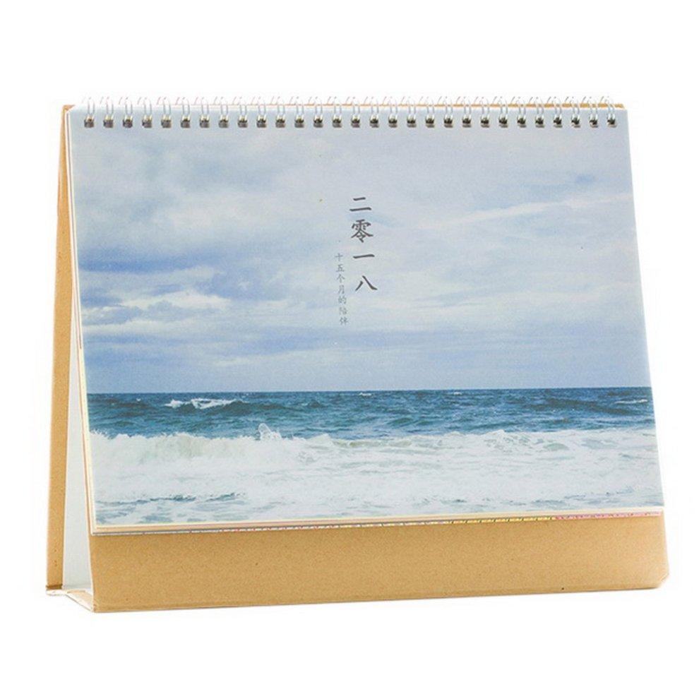 2018 Creative Cute Simple Notepad Desk Calendar Blue Sky And The