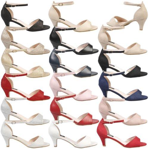 Laurie Womens Mid Kitten Heel Ankle Strap Peep Toe Sandals